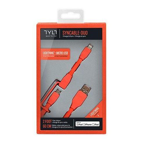 TYLT Micro USB+lightning 60cm (piros) adatkábel dobozos