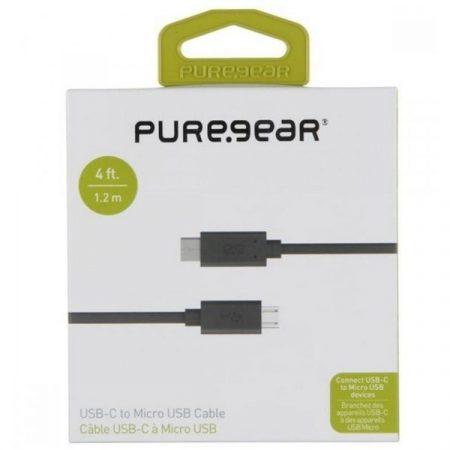 Adatkábel, PureGear USB-C to microUSB (fek) 1,2m dobozos