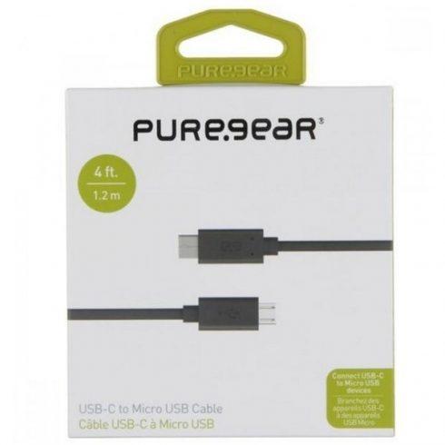 PureGear Type-C / MicroUsb adatkábel 1,2m fekete